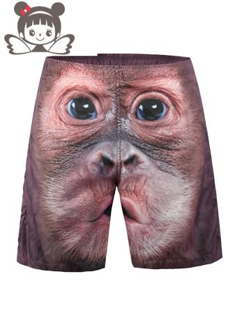潮牌宽松短裤男卡通动物夏天沙滩裤搞笑3d个性创意休闲五分运动裤