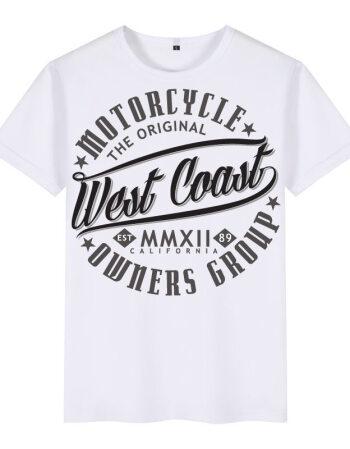 创意字母3d图案欧美风男装短袖t恤衫潮牌印花西海岸街头嘻哈衣服 白色