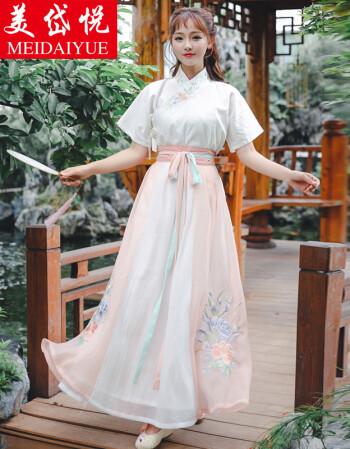 美岱悦2018夏装新款原创设计改良汉服女装绣花交领上衣短袖汉元素短裙