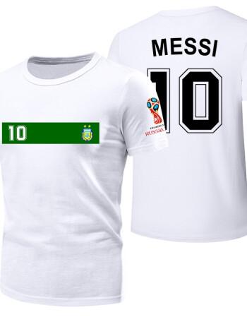 2018世界杯t恤梅西10号巴西阿根廷德国球衣队服c罗7号足球迷短袖 白色图片