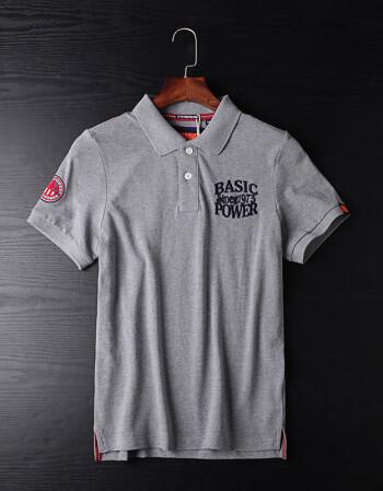工厂尾单polo衫男短袖修身翻领刺绣出口欧美原单剪标带领t恤 灰色 3xl