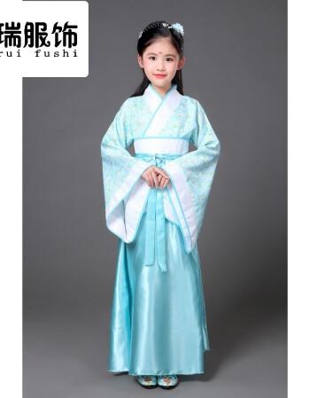 儿童古装唐装女童古装仙女装表演服古代公主古筝汉服影楼写真演出服装