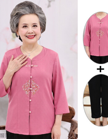 中老年人唐装女夏季短袖套装复古中式女装奶奶老人服装中国风夏装图片