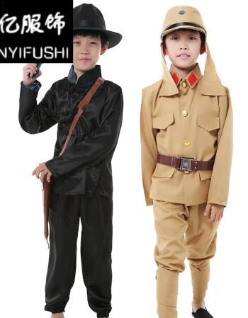 儿童日本兵军装日本军官大佐汉奸服土匪村姑服红军小鬼子表演服装 小