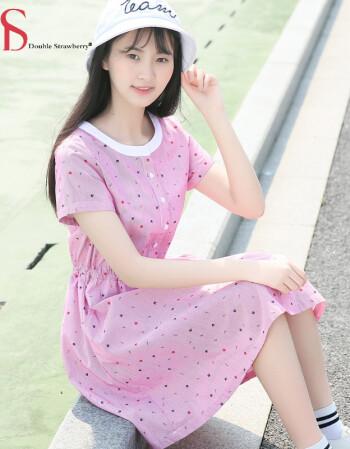 ds 少女夏装女孩裙子18岁高中初中学生女生连衣裙大童