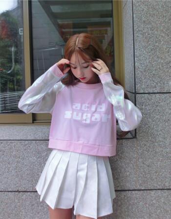 操女孩逼色惰小�_啦啦队卫衣女潮拉拉队服装啦啦操爵士舞套装女舞台演出服 粉红色上衣