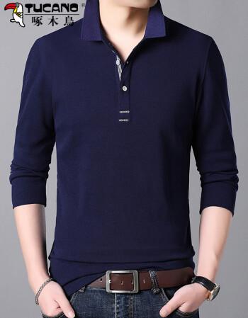 啄木鸟男装长袖t恤男纯棉polo衫2018新款纯色体恤男士