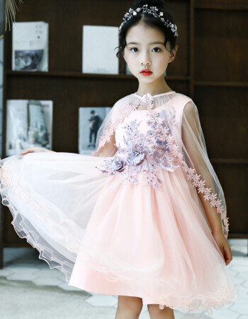 儿童仙女裙蓬蓬纱公主裙女童披肩连衣裙夏季小女生的裙子女孩 粉红色