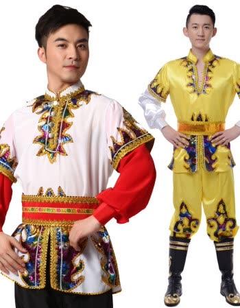 新疆舞蹈服装男少数民族演出服装维吾尔族舞蹈服饰定制 白色 十件起图片