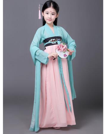 新款女童古装 古典齐胸襦裙唐朝贵妃表演演出服装儿童仙女裙汉服 青色