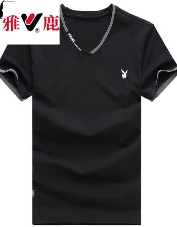 雅鹿贵宾系列 t恤男 夏季男装新款男士休闲半袖上衣纯棉衣服短袖t恤男