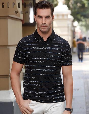 歌珀莱品牌男装2018新款夏季时尚休闲中年男士短袖t恤花纹条纹翻领