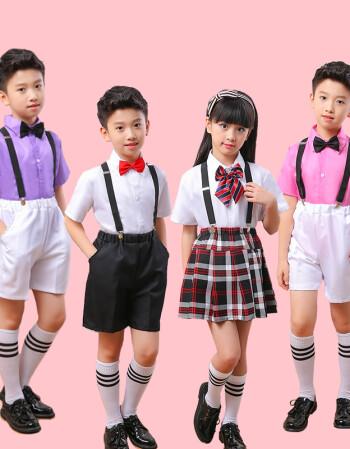 儿童背带裤演出服中小学生诗歌朗诵表演服礼服男女合唱服公主裙 男款