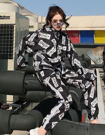 ins欧美街头热血街舞团鹿晗宋茜同款衣服嘻哈hiphop外套女薄潮夏 黑色图片