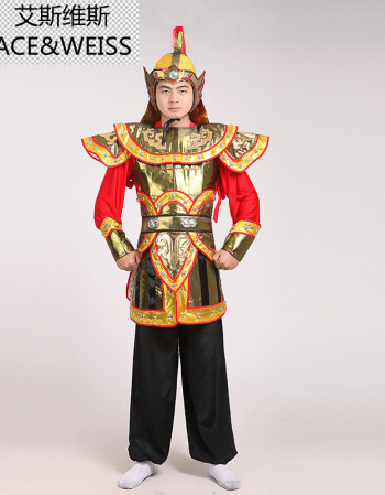2017新款古装演出服装清朝将军侍卫表演舞台武士演出铠甲戏服 图片色