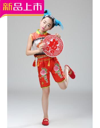 六一儿童小荷风采剪窗花演出服童心鼓韵舞蹈服饰儿童剪纸姑娘sn6759