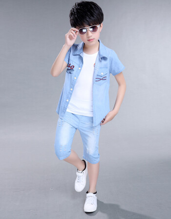 男童夏装2018款儿童装牛仔套装帅气短袖夏季小孩潮衣服韩版大童 蓝色