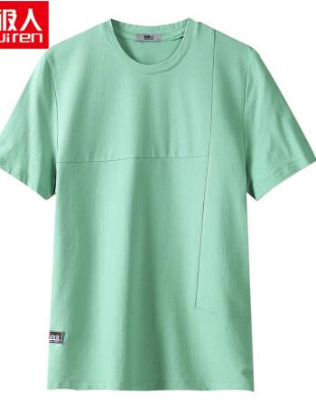 短袖t恤男夏季纯棉打底衫青年圆领纯色透气薄款半袖体恤衫 浅绿色 175