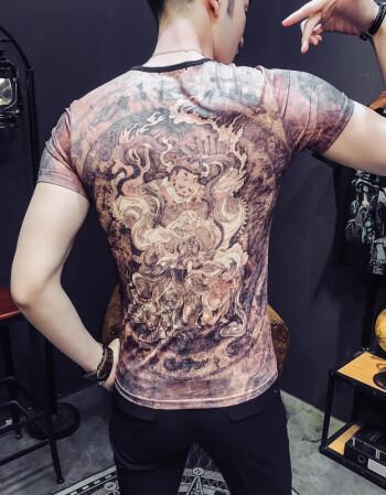 日系美女纹身图案印花修身花短袖t恤快手男夏个性社会