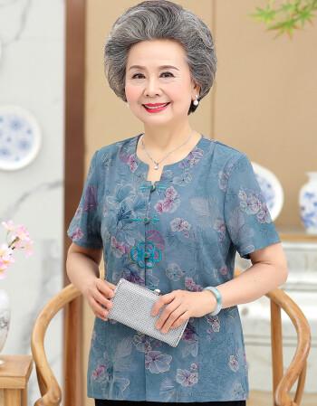 奶奶装夏装套装棉短袖老人衣服