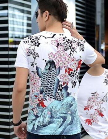 中国风纹身美女日系潮牌韩版t恤短袖男t恤个性圆领t恤短袖上衣 梅花