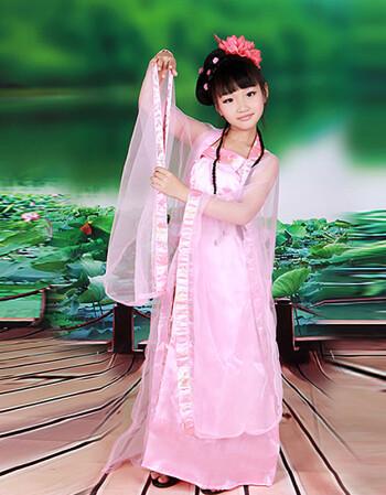 儿童古装汉服襦裙女童拖尾古装仙女影楼写真古装演出服表演服装 开学