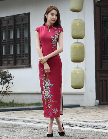 aina) 依莱娜2016夏时尚女修身长款丝绸旗袍改良修身时尚丝绸旗袍裙子