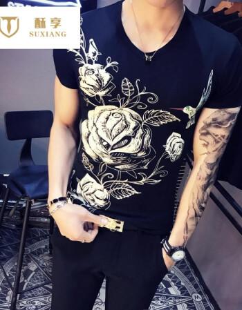 酥享 短袖t恤男社会小伙外套 中国风潮流纹身衣服刺青