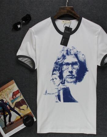 纯棉短袖t恤男罗口圆领t恤个性手绘印花t恤男夏装上衣
