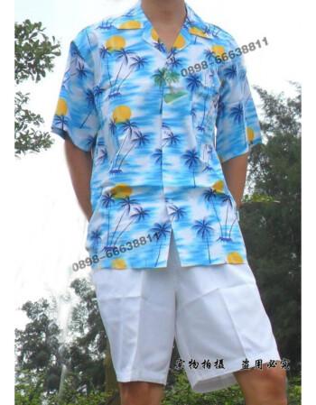 珂梵图海南岛服海南衫海岛服衬衫男女短袖套装三亚休闲旅游沙滩服 宝