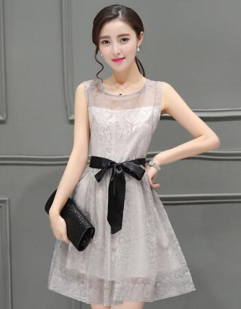 2018夏季韩版无袖雪纺连衣裙女学生裙子收腰蓬蓬裙公主裙成人中裙