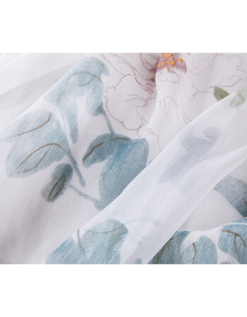 2018原创中国风女装民族风手绘中长款半身裙复古文艺范半裙 荷花图