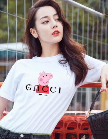 珂梵图2018新款半袖小猪佩奇t恤短袖女抖音网红同款卡通印花社会人