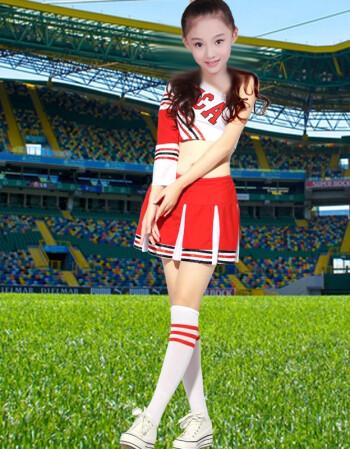 2015新款韩版成人时尚成人足球宝贝服装中学生拉拉队体操啦啦操表演图片