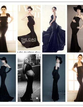 孕妇拍照写真服装黑色甜美影楼摄影服饰孕妈艺术照鱼尾裙 2单独裙子