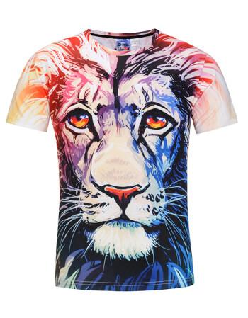 老虎t恤 个性豹子图案印花立体创意动物3dt恤男士短袖t恤3d衣服潮