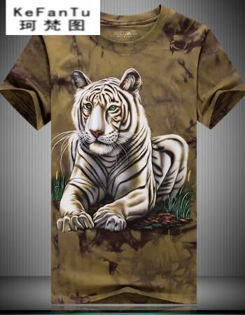 梵图t恤男短袖3dt恤衣服夏季老虎图案圆领大码男士3d立体半袖t恤扎染