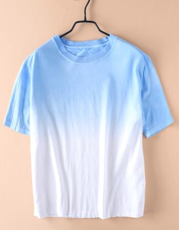 个性渐变吊染圆领纯棉短袖t恤男士夏季小清新休闲宽松中性体恤衫 天