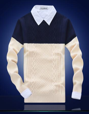 男式毛衣 男士手工编织菱格拼接撞色毛线衫 毛衣