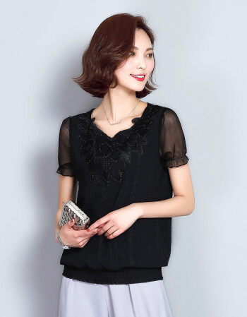 女士小衫_年夏季韩版圆领t恤短袖纯色镶钻套头宽松显瘦ol雪纺衫女士打底小衫