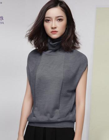 洛薇雅高领毛衣女2018新款春装针织衫女短袖宽松羊毛衫薄款 烟灰色 l