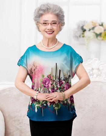 中老年女装夏装短袖t恤女50-60岁妈妈装70岁老年人女上衣夏季奶奶装80图片