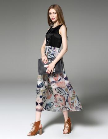 灵寇*欧美时尚流行欧洲站新款式女装真丝连衣裙夏季2016 a图片色 l图片