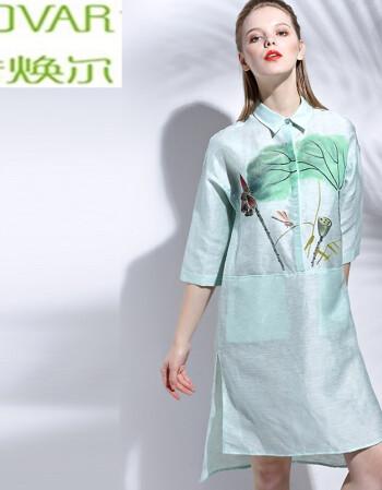 诺焕尔2016 荷塘手绘连衣裙 春季中袖衬衫式连衣裙sfx