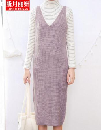 胧月丽妍文艺复古针织毛线背心连衣裙长裙吊带背带裙d7 淡紫两件套