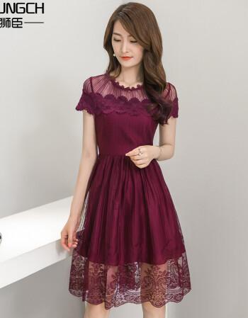 蕾丝雪纺连衣裙短袖