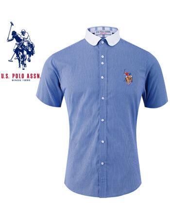 uspolo美国马球协会男装 夏季男士短袖衬衫 休闲格子衬衫 浅蓝色 2xl
