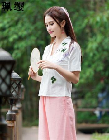 珮缨2016夏装中国风汉服元素手绘对襟短袖上衣女文艺复古时尚短衫