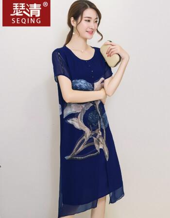 女装 大码女装 瑟清(seqing) 瑟清-2016夏季女装短袖宽松大码连衣裙