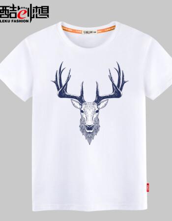 乐酷潮流手绘鹿头 男女士情侣装纯棉短袖t恤潮ql 宽松